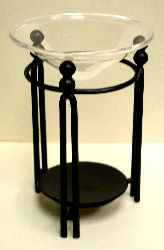 "Black Metal Columns with Glass Bowl 5"" S2"
