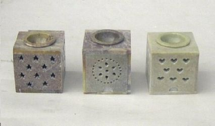 "Soap Stone Oil Burner 3.5"" Square Assorted Colors ss22463"